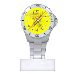 Fractal Color Parallel Lines On Gold Background Plastic Nurses Watch