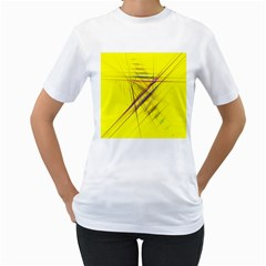 Fractal Color Parallel Lines On Gold Background Women s T-Shirt (White)