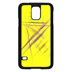 Fractal Color Parallel Lines On Gold Background Samsung Galaxy S5 Case (black)