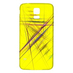 Fractal Color Parallel Lines On Gold Background Samsung Galaxy S5 Back Case (White)