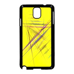 Fractal Color Parallel Lines On Gold Background Samsung Galaxy Note 3 Neo Hardshell Case (black)
