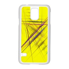 Fractal Color Parallel Lines On Gold Background Samsung Galaxy S5 Case (White)