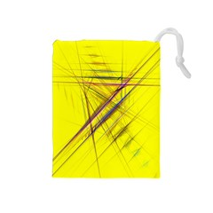 Fractal Color Parallel Lines On Gold Background Drawstring Pouches (Medium)