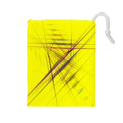 Fractal Color Parallel Lines On Gold Background Drawstring Pouches (Large)