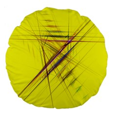 Fractal Color Parallel Lines On Gold Background Large 18  Premium Flano Round Cushions