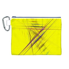 Fractal Color Parallel Lines On Gold Background Canvas Cosmetic Bag (l)