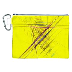 Fractal Color Parallel Lines On Gold Background Canvas Cosmetic Bag (xxl)