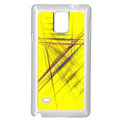 Fractal Color Parallel Lines On Gold Background Samsung Galaxy Note 4 Case (White)