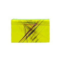 Fractal Color Parallel Lines On Gold Background Cosmetic Bag (XS)