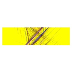 Fractal Color Parallel Lines On Gold Background Satin Scarf (Oblong)