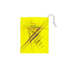 Fractal Color Parallel Lines On Gold Background Drawstring Pouches (XS)