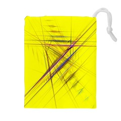 Fractal Color Parallel Lines On Gold Background Drawstring Pouches (Extra Large)