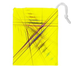 Fractal Color Parallel Lines On Gold Background Drawstring Pouches (XXL)