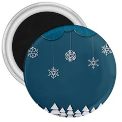 Blue Snowflakes Christmas Trees 3  Magnets