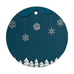 Blue Snowflakes Christmas Trees Ornament (Round)