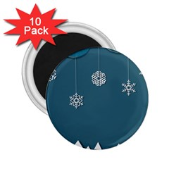 Blue Snowflakes Christmas Trees 2.25  Magnets (10 pack)