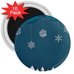 Blue Snowflakes Christmas Trees 3  Magnets (10 pack)