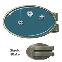 Blue Snowflakes Christmas Trees Money Clips (Oval)