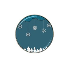 Blue Snowflakes Christmas Trees Hat Clip Ball Marker