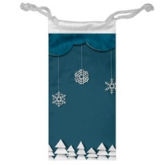 Blue Snowflakes Christmas Trees Jewelry Bag