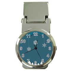 Blue Snowflakes Christmas Trees Money Clip Watches