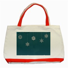 Blue Snowflakes Christmas Trees Classic Tote Bag (Red)