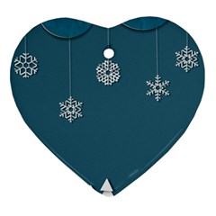 Blue Snowflakes Christmas Trees Heart Ornament (Two Sides)
