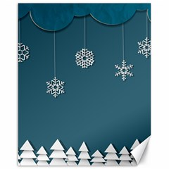 Blue Snowflakes Christmas Trees Canvas 16  x 20