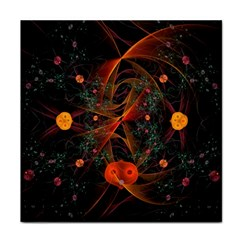 Fractal Wallpaper With Dancing Planets On Black Background Tile Coasters