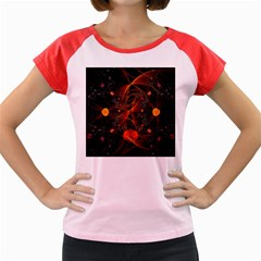 Fractal Wallpaper With Dancing Planets On Black Background Women s Cap Sleeve T-Shirt