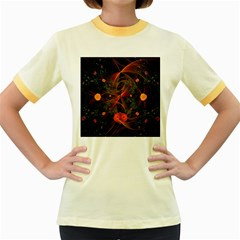 Fractal Wallpaper With Dancing Planets On Black Background Women s Fitted Ringer T Shirts