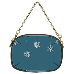 Blue Snowflakes Christmas Trees Chain Purses (One Side)