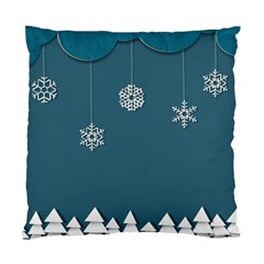 Blue Snowflakes Christmas Trees Standard Cushion Case (Two Sides)