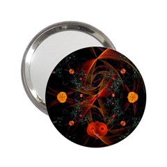 Fractal Wallpaper With Dancing Planets On Black Background 2 25  Handbag Mirrors