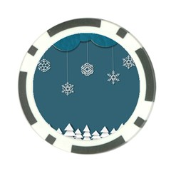 Blue Snowflakes Christmas Trees Poker Chip Card Guard (10 pack)