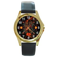 Fractal Wallpaper With Dancing Planets On Black Background Round Gold Metal Watch
