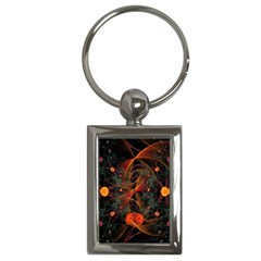 Fractal Wallpaper With Dancing Planets On Black Background Key Chains (Rectangle)