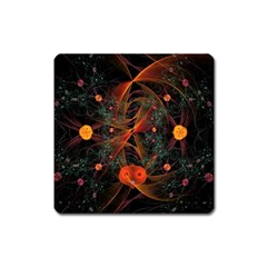 Fractal Wallpaper With Dancing Planets On Black Background Square Magnet