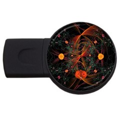 Fractal Wallpaper With Dancing Planets On Black Background USB Flash Drive Round (2 GB)