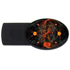 Fractal Wallpaper With Dancing Planets On Black Background USB Flash Drive Oval (2 GB)