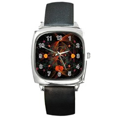 Fractal Wallpaper With Dancing Planets On Black Background Square Metal Watch