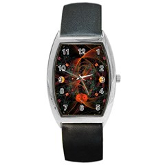 Fractal Wallpaper With Dancing Planets On Black Background Barrel Style Metal Watch