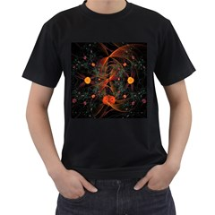 Fractal Wallpaper With Dancing Planets On Black Background Men s T Shirt (black) (two Sided)
