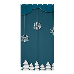 Blue Snowflakes Christmas Trees Shower Curtain 36  x 72  (Stall)