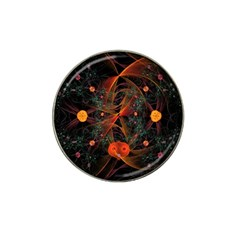 Fractal Wallpaper With Dancing Planets On Black Background Hat Clip Ball Marker (10 pack)