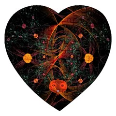 Fractal Wallpaper With Dancing Planets On Black Background Jigsaw Puzzle (Heart)
