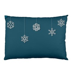 Blue Snowflakes Christmas Trees Pillow Case (Two Sides)