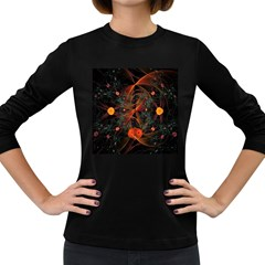 Fractal Wallpaper With Dancing Planets On Black Background Women s Long Sleeve Dark T-Shirts