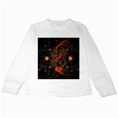 Fractal Wallpaper With Dancing Planets On Black Background Kids Long Sleeve T-Shirts