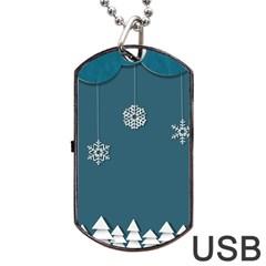 Blue Snowflakes Christmas Trees Dog Tag USB Flash (One Side)